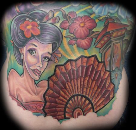 Tattoos - Geisha Girl Back Piece Tattoo - 66734