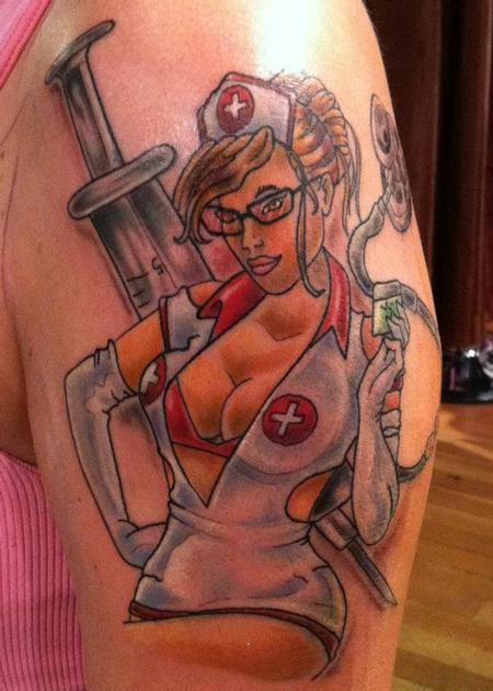 Tattoos - Pinup Nurse Tattoo - 62214