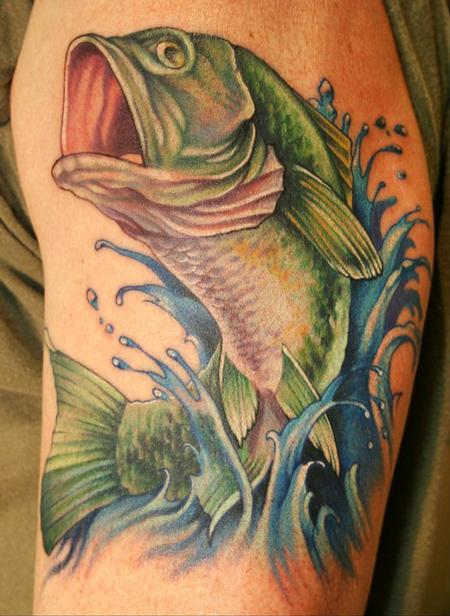 bass fish tattoo by teresa sharpe tattoonow