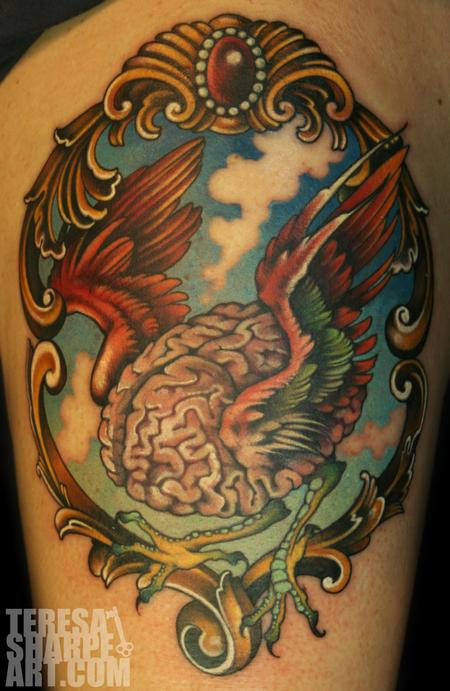 Flying Brain Tattoo Design Thumbnail