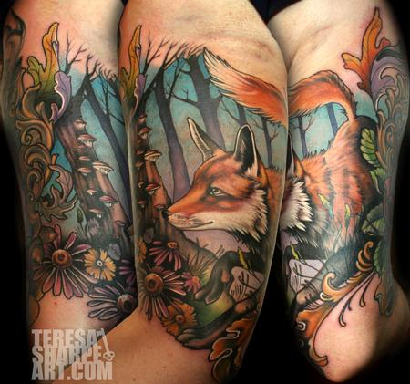 Fox in Forest Tattoo Design Thumbnail