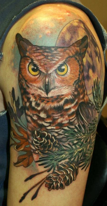 Owl at Night Tattoo Design Thumbnail