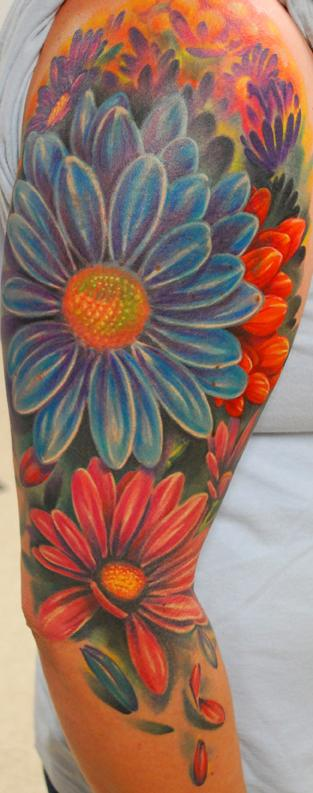 Tattoos - Color Flower Half Sleeve Tattoo - 64922