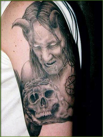 Devil with Skull Tattoo