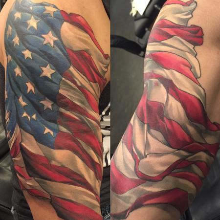Tattoos - Damon Conklin American flag - 131202
