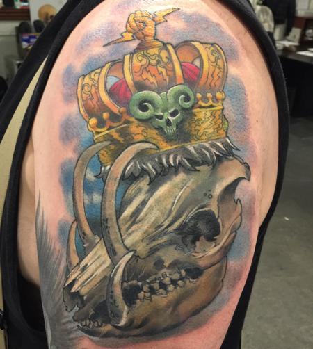 Tattoos - Damon Conklin Crowned Boar Skull - 131213