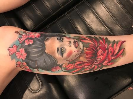 Tattoos - Damon Conklin Floral Geisha - 131225