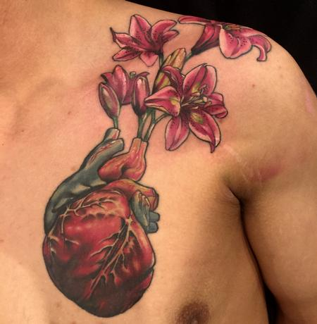 Tattoos - Damon Conklin Heart Lilly Vase - 131228