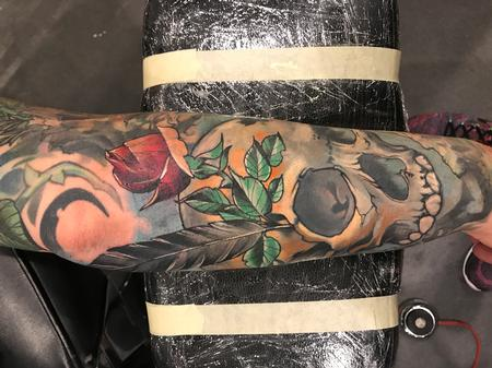Tattoos - Damon Conklin Feather Rose and Skull - 131236