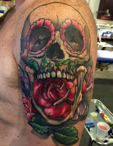 Tattoos - Damon Conklin skull and roses - 131239