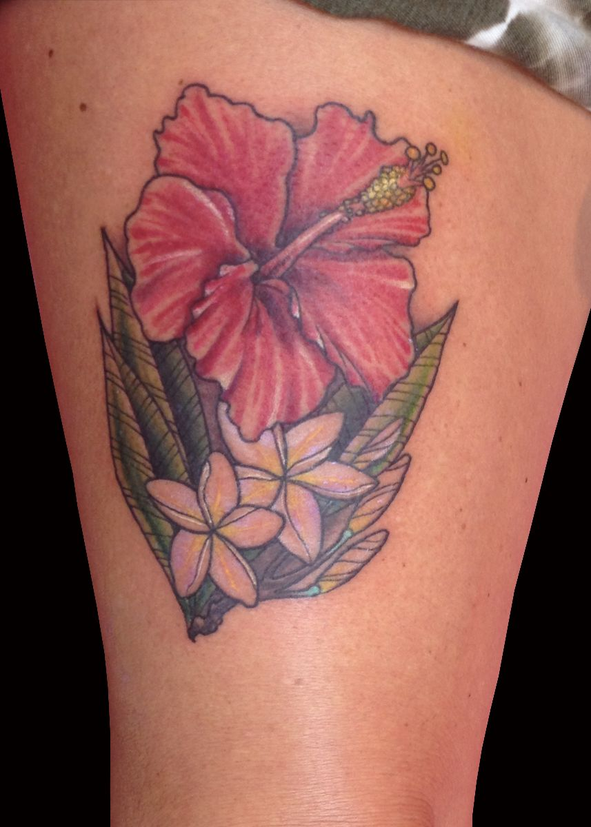 hibiscus 2 plumeria by trevor kennedy sweet trade tattoo. Black Bedroom Furniture Sets. Home Design Ideas