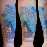 Tattoos - Turtle & ocean scene - 126796