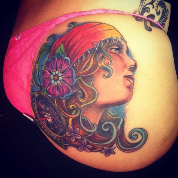 Butt gypsy by johnny smith tattoonow for Tattoos on buttocks