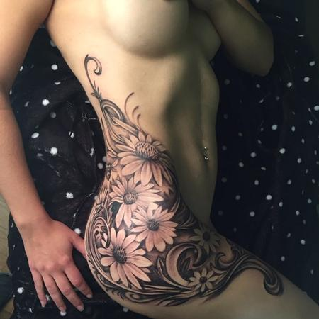 Tattoos - flowers on hip - 95891