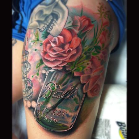 Tattoos - mason jar with flowers - 85952