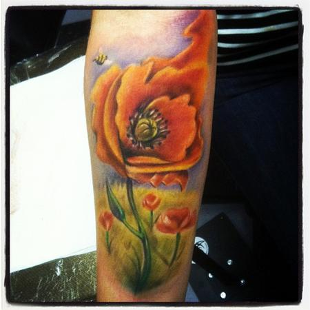 Johnny Smith - freehand poppy