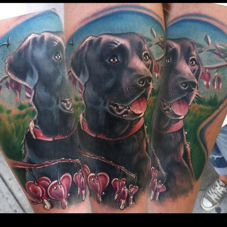 Tattoos - dog portrait with bleeding hearts - 78155