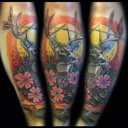 Tattoos - deer portrait on shin - 88870