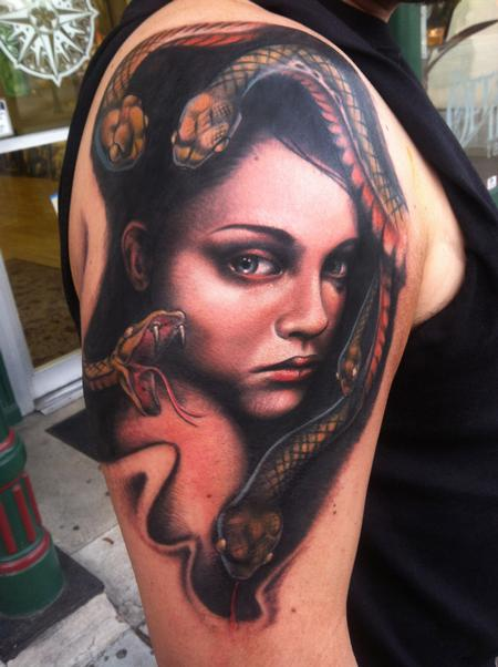 Tattoos - custom girl with snakes - 74346
