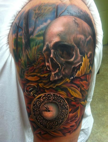 Tattoos - skull and pocketwatch - 76974