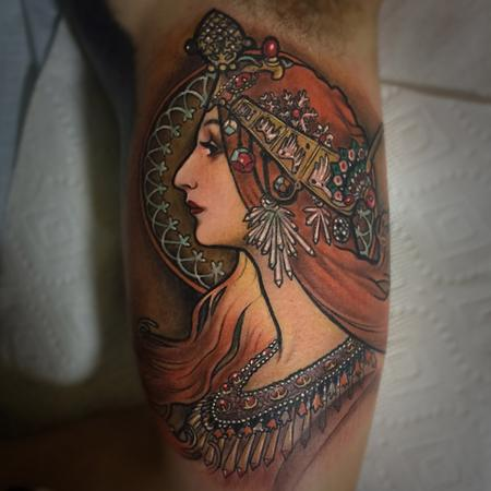 Tattoos - Mucha on inside of the arm - 99247