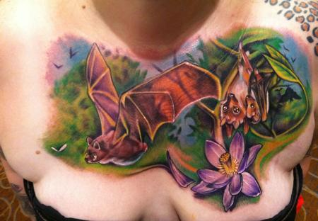 Johnny Smith - bat inspired chest tattoo by johnny smith