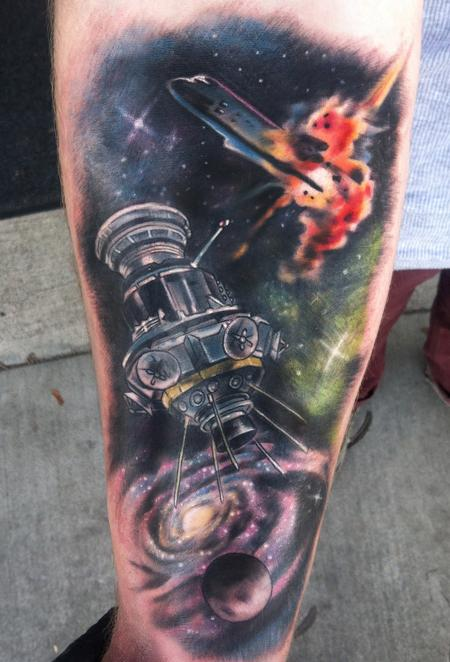 Tattoos - space sleeve with galaxy and exploding shuttle - 74424