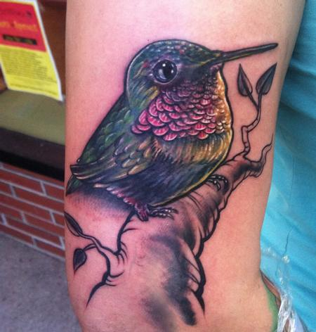 Tattoos - start of a sleeve- hummingbird - 79117
