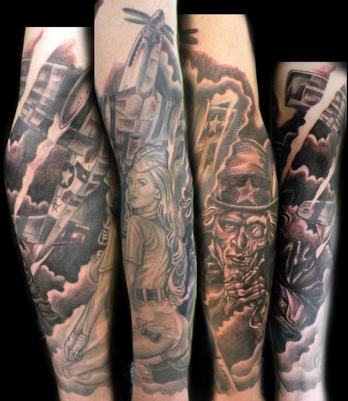 military sleeve by Mathew Hays: TattooNOW