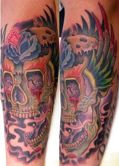 Tattoos - painted skull - 52357