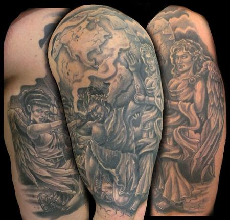 atlas with angels by mathew hays tattoonow. Black Bedroom Furniture Sets. Home Design Ideas