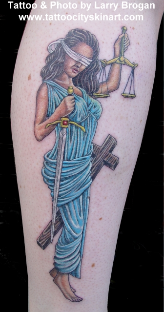 Lady justice by larry brogan tattoos for Tattoos of lady justice
