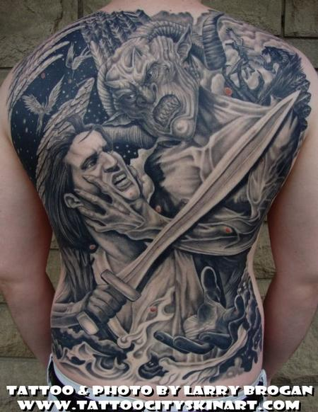 Larry Brogan - Angle vs Demon Backpiece