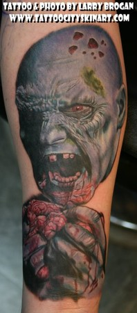 Tattoos - Blue Zombie Eating Brains - 35620