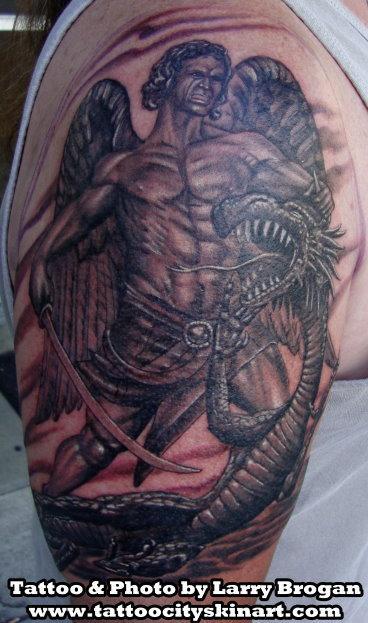 Tattoos - St. Michael Kicking Some Lucifer Butt - 68380