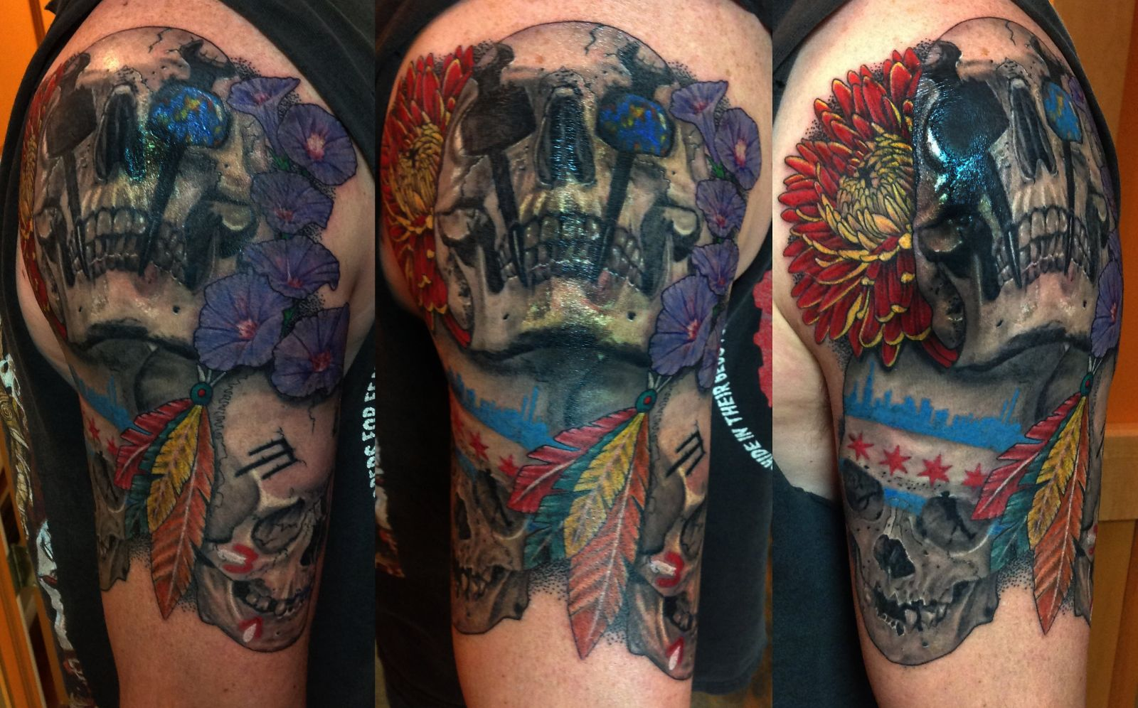 Tattoo city skin art studio the skulls are iron working the city of chicago and the chicago blackhawks the flowers and the opal in the skulls eye represent his family buycottarizona Images