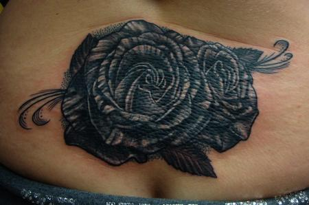 Tattoos - Black and Grey Roses - 103777