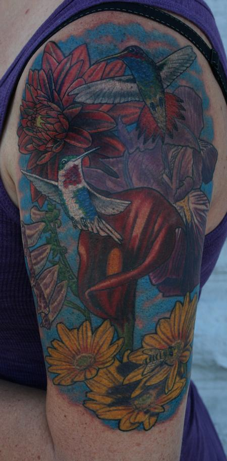 Larry Brogan - Hummingbird and Floral Half Sleeve
