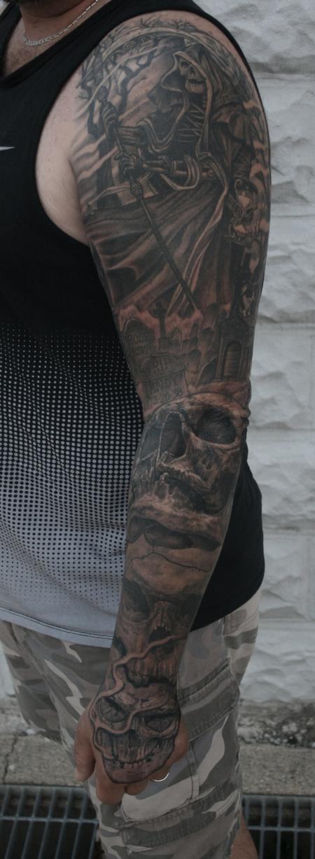 Skulls & Reaper Sleeve Tattoo Design Thumbnail