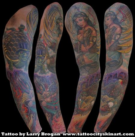 Steam Punk Heaven & Hell Angel Demon Sleeve by Larry Brogan Tattoo Design Thumbnail