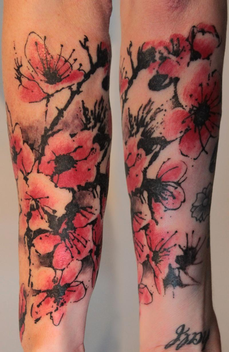 cherry blossom half sleeve tattoo by gene coffey tattoonow. Black Bedroom Furniture Sets. Home Design Ideas