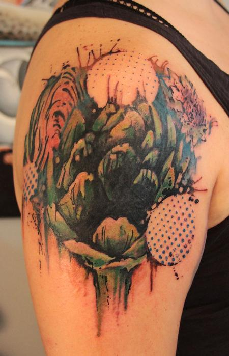 Tattoos - Abstract Artichoke Cover-up Tattoo - 63721