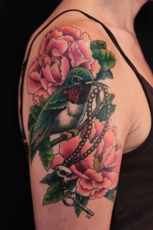 Flowers Tattoos on Tattoo Gathering   Tattoos   Gene Coffey   Humming Bird Flowers Tattoo