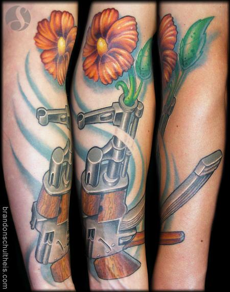 AK47 Flower Tattoo Tattoo Design Thumbnail