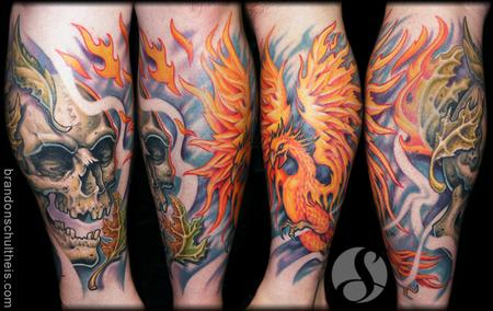 Brandon Schultheis - Phoenix and Skull Life/Death Tattoo