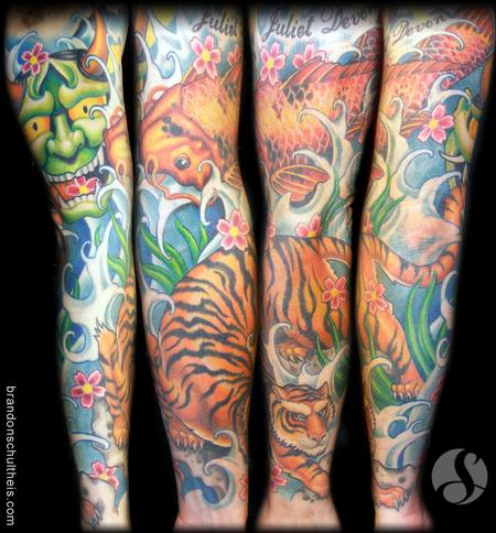 Japanese Tiger Tattoo Sleeve