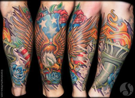 Patriotic Tattoo Sleeves Patriotic lower leg sleeve
