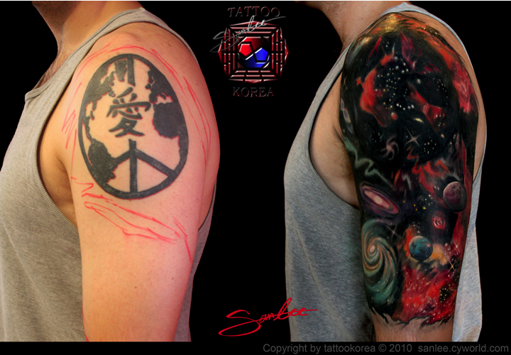 Outerspace sleeve coverup by sanglee kang tattoonow for Tattoo sleeve cover ups