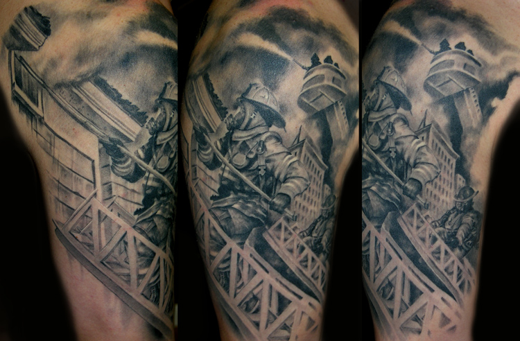 Firefighter ladder sleeve outside by luca natalini for Firefighter sleeve tattoo