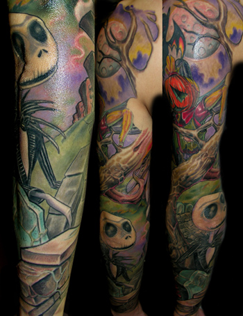 Looking for unique Color tattoos Tattoos?  Nightmare sleeve backview